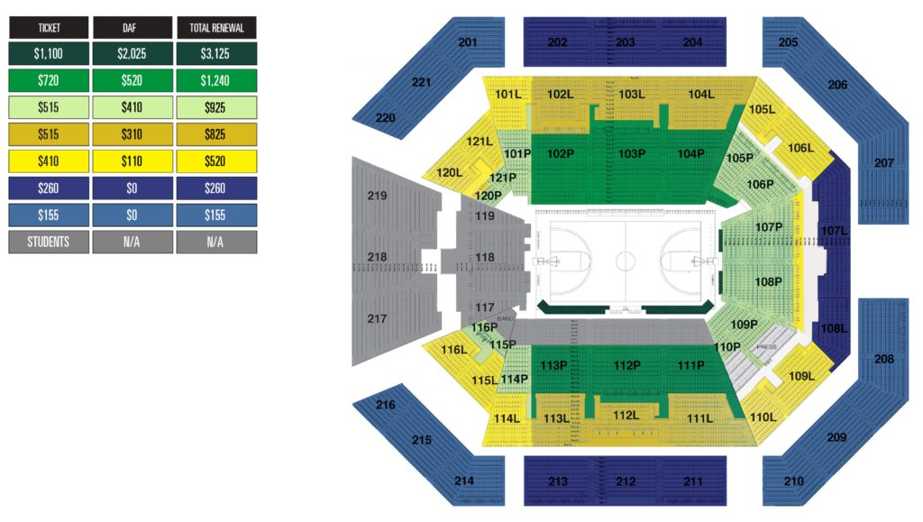Matthew Knight Arena Seat Map in Eugene, Oregon
