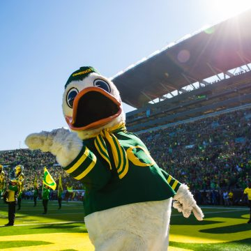 Puddles welcomes you to Autzen Stadium in Eugene, Oregon